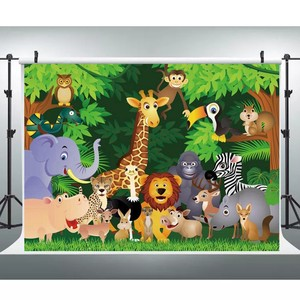 Image 5 - Laeacco Jungle Party Photophone Tropical Forest Trees Animals Photography Backdrops Photo Backgrounds Baby Birthday Photocall