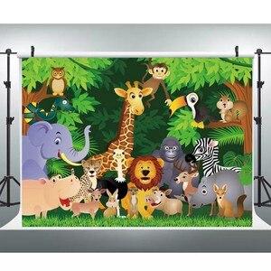 Image 5 - Laeacco حفلة الغابة Photophone أشجار الغابات الاستوائية الحيوانات خلفيات للتصوير الفوتوغرافي صور خلفيات عيد ميلاد الطفل صور