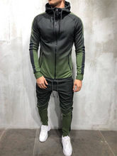 New Sportswear Set Men 's Spring Autumn Zipper Sweatshirt Series 3d digital gradient color Man Jogging Sports Suit Two - piece