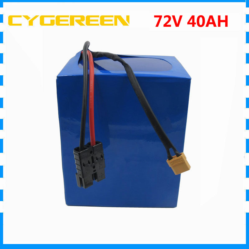 High capacity 72V scooter battery 3000W 72V 40AH Lithium bicycle battery 5000mAH 26650 Cell 50A BMS with 4A Charger image