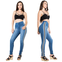 Fashion Autumn Stripes Jeans woman New Explosive skinny pants High Elastic Side Ribbon Sports Jeans Female graffiti print side skinny jeans