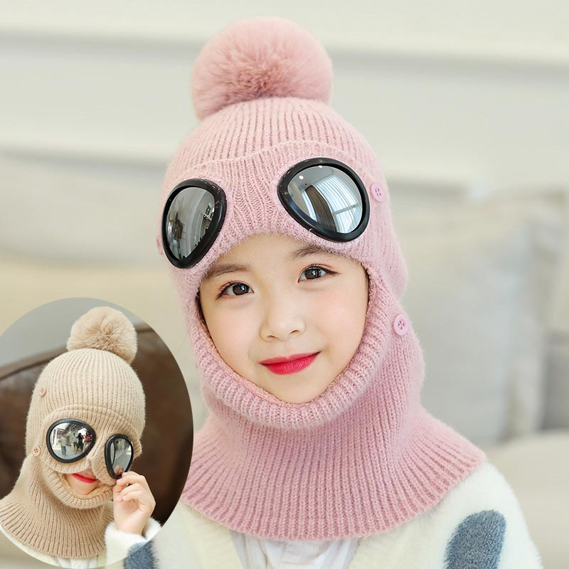 Child Winter Knitted Hat Scarf Set Big Kids Warm Plush Pom Pom Hooded Scarves 2019 Girls Boys Women New Glasses Cap