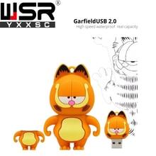 cartoon garfield usb2.0 pen drive 32gb yellow usb flash 128gb real  capacity high speed memory stick 8gb 16gb 64gb free delivery