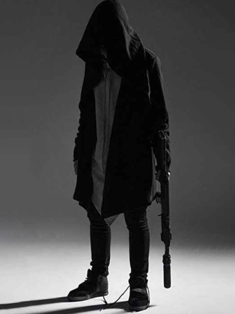 Hip Hop Hoodie Men Black Gothic Streetwear Alan Walker Cardigan Sweatshirt