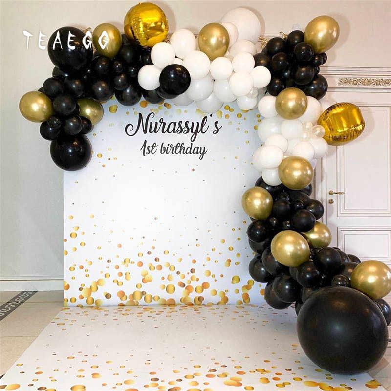 114pcs Set Black White Latex Round Balloon Baby 1st Birthday Bride