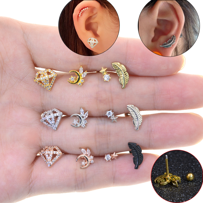 1Pc Zircon Rose Gold Color Curved Cz Cartilage Stud Helix Rook Conch Screw Back Earring 20g Stainless Steel Ear Piercing Jewelry