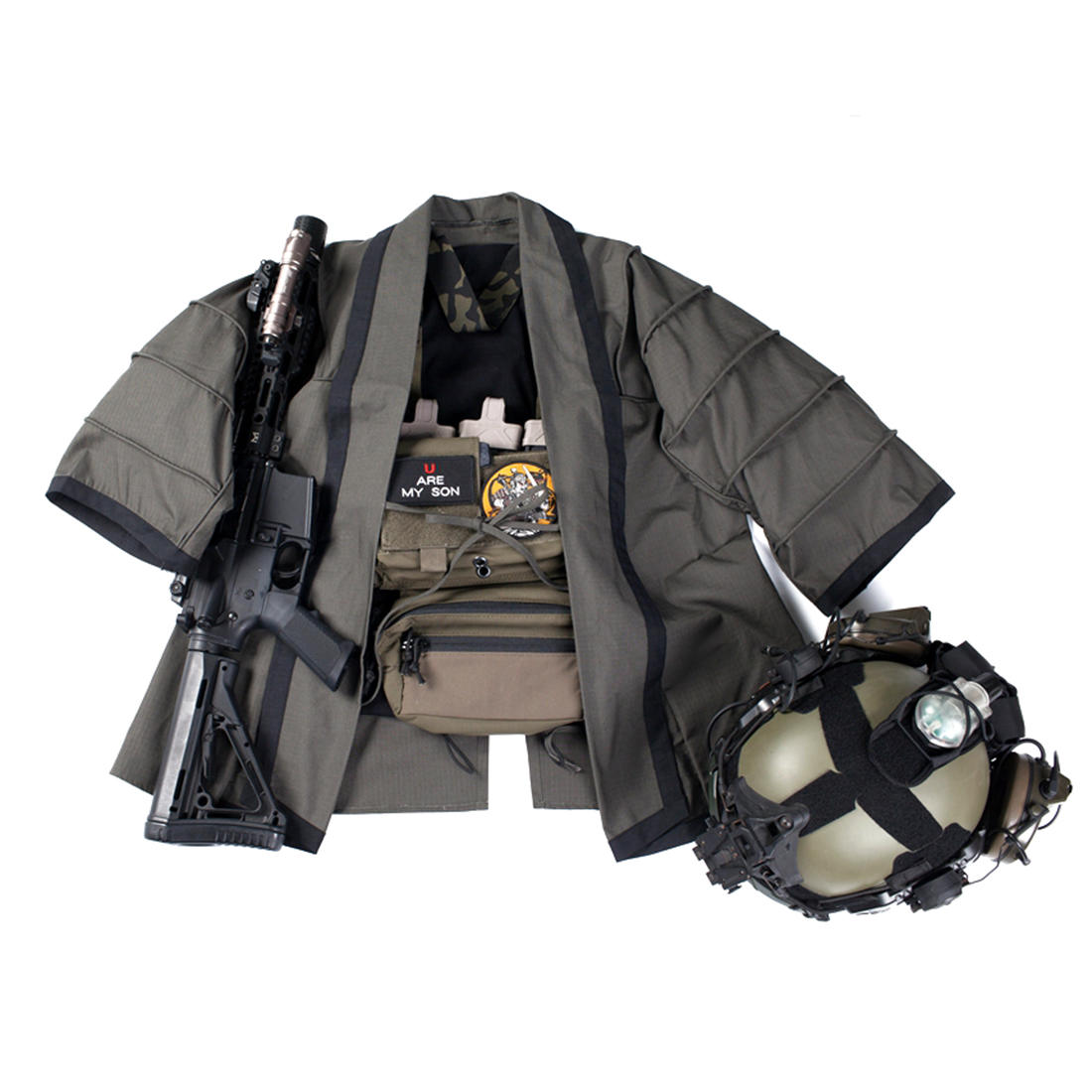 BACRAFT TRN уличная тактическая охотничья куртка тренировочная накидка Боевая хаори куртка для страйкбола-дымчато-зеленая
