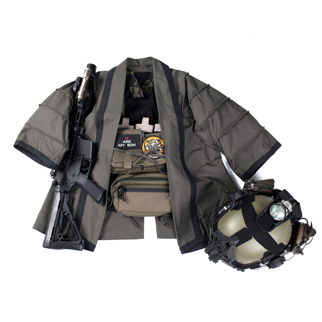 2020 New Release BACRAFT Outdoor Tactical Hunting Coat Training Cloak Combat Haori Jacket For Airsoft- Smoke Green