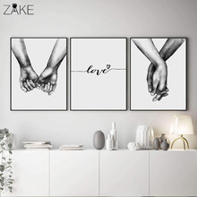 Nordic Poster Black And White Holding Hands Canvas Prints Lover Quote Wall Pictures For Living Room Abstract Minimalist Decor(China)