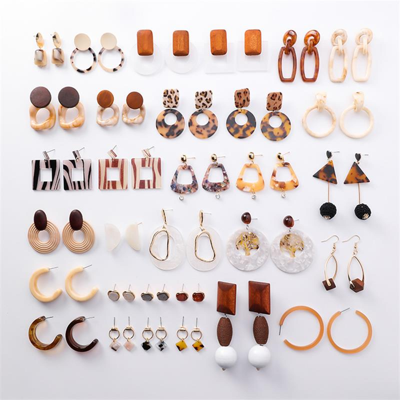 Simple Caramel color Acetate Earrings Fashion Geometric Leopard Earrings Exaggerated Transparent Acrylic Wooden Earrings Female(China)
