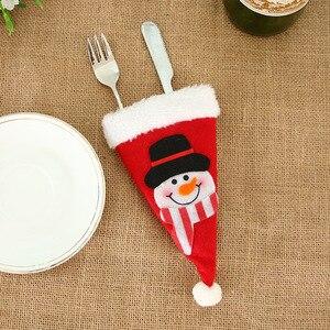 Image 4 - 2020 novo chapéu de natal talheres garfo colher bolso decoração de natal saco santa boneco de neve talheres armazenamento saco decorativo
