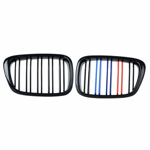 Image 1 - 2pcs Frente Centro Grilles Renais para BMW E39 Gloss Cor Misturada Preto Grade 518 520 523 525 528 530 1999 2000 2001 2002 2003