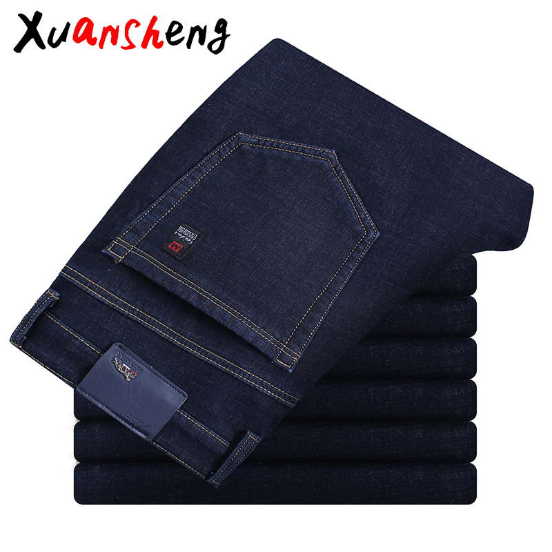 Brand Straight Men's Jeans 2019 New Blue Black Classic Casual Stretch Mid-waist Washed Streetwear Clothing Wild Long Pants Jeans