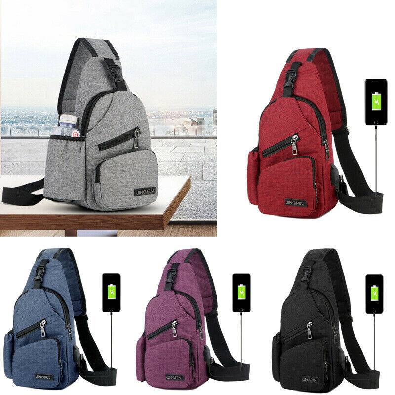 NoEnName-Null Men Women Shoulder Bag Sling Chest Bag Pack Outdoor Travel Sport USB Charging Crossbody Bags Handbag