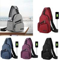 NoEnName-Bolso de hombro para hombre y mujer, riñonera de pecho, bolso de bandoleras con carga por USB deportivo de viaje al aire libre