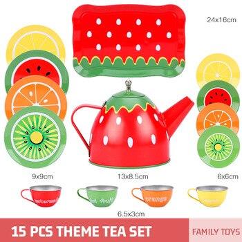 Juego de té de simulación para niños juego de té para niñas hojalata juego de té de la tarde desarrollo de interés educación temprana cocina tetera de juguete