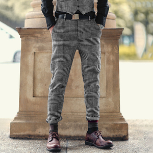 Image 5 - Pantalon pour hommes, nouveau pantalon à carreaux, gris, en laine, slim, long, extensible, style italien, design de marque à la mode, décontracté