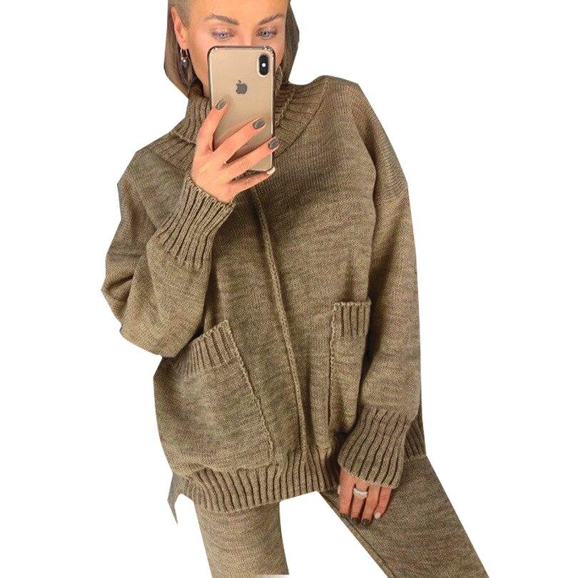 Mveminru femmes automne tricoté deux pièces ensemble mi-doublé poches fendues pull + pantalon costumes
