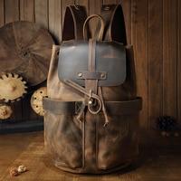 Large capacity man travel bag handmade Oil Genuine Leather drawstring bucket shoulder bag Daypack Male mountaineering backpack
