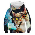 Cat boy polyester short-sleeved casual sweatshirt letter printing clothing 3D printing spring and summer thin section 2021