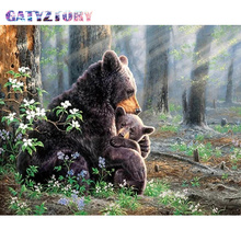 GATYZTORY  Diamond Embroidery bear Diamond Painting Pictures Of Rhinestones Diamond Mosaic Sale Full Square Drill Art Animals gatyztory diamond embroidery dogs diamond painting pictures of rhinestones diamond mosaic sale full square drill art animals
