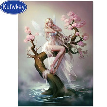 Full round diamond embroidery fairy Cherry blossoms tree diamond painting 5D square by hand angel picture rhinestones room decor(China)
