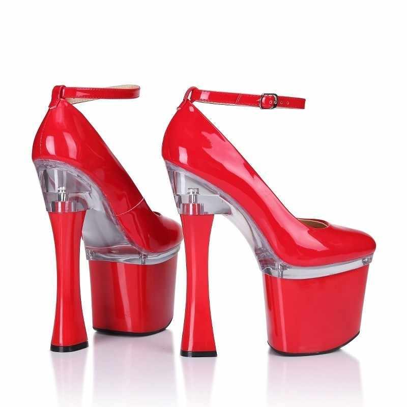 ร้อนเซ็กซี่ผู้หญิงสิทธิบัตรหนังรองเท้าส้นสูงรองเท้า Clubwear ข้อเท้าสายคล้อง PARTY รองเท้าแพลตฟอร์มหนา 20 ซม.ส้นปั๊ม