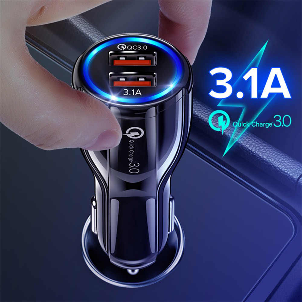 LOVECOM 3.1A 18W Car Charger Quick Charge 3.0 Dual USB Adapter Fast Charging For iPhone Huawei Samsung Xiaomi Phone Car-Charger
