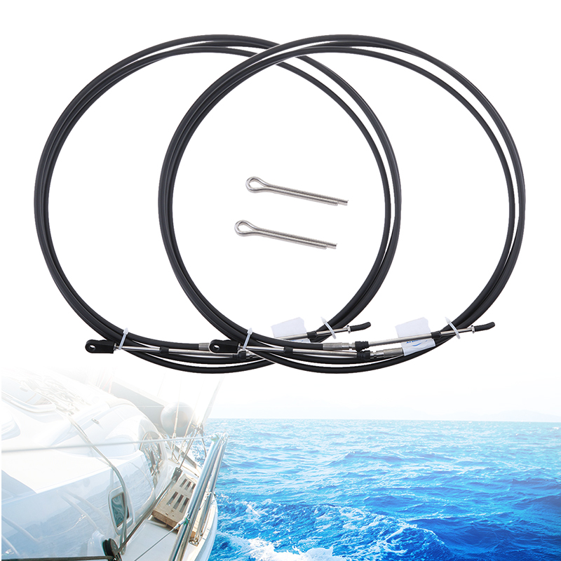 MagiDeal 2Pcs Universal Shift Throttle Cable for Yamaha Outboard Boat Control Lever 8Ft