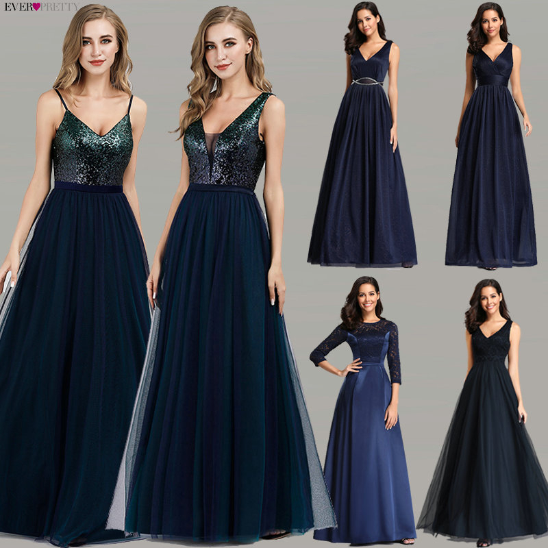 Ever Pretty Prom Dresses 2020 Elegant Navy Blue A Line O Neck Appliques Lace Formal Party Gowns Sexy Robe De Bal Gala Jurken