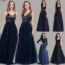 Ever Pretty Prom Dresses 2019 Elegant Navy Blue A Line O Nec