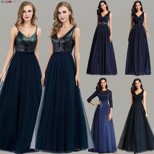 Image 1 - Hiç Pretty balo kıyafetleri 2020 zarif donanma mavi bir çizgi O boyun aplikler dantel örgün parti törenlerinde seksi elbise De Bal gala Jurken