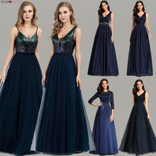 Ooit Pretty Prom Dresses 2020 Elegant Navy Blue A Line O Hals Applicaties Kant Formele Partij Jassen Sexy Robe De bal Gala Jurken