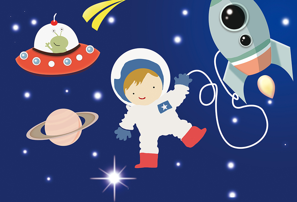 Haoyiyi 10x6.5ft Cartoon Outer Space Planet Starry Sky Background Rocket Astronaut Backdrop Photography Photo Adult Birthday Baby Shower Wedding Dessert Table Room Pictures Supplies