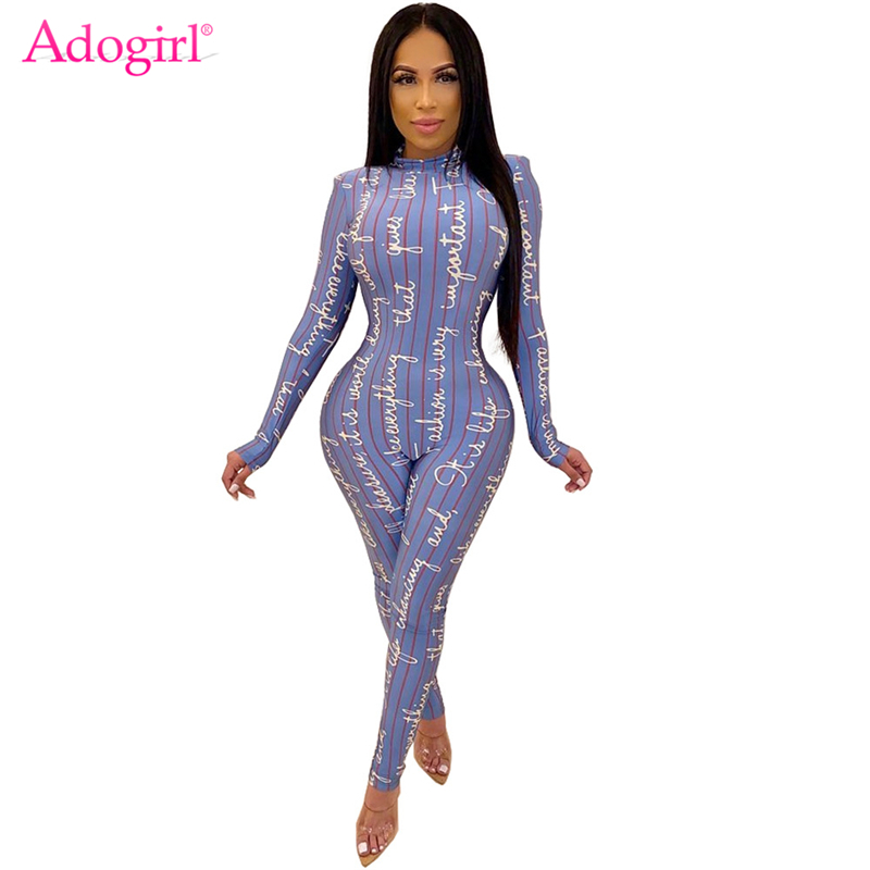 Adogirl Letters Print Stripe Jumpsuit 2019 Autumn Winter Mock Neck Long Sleeve Skinny Casual Romper Women Fashion Overalls