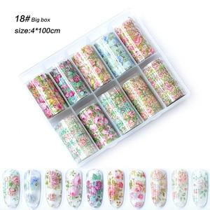 Image 1 - 1 Box Mix Rose Flower Nail Foil Polish Stickers set Nail Transfer Foil Paper Starry Nail Art Sticker Decoration Nails Wraps tool