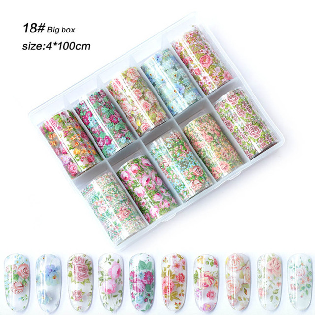 1 상자 믹스 장미 꽃 네일 호일 폴란드어 스티커 세트 네일 전송 호일 종이 별이 빛나는 네일 아트 스티커 장식 손톱 도구를 래핑