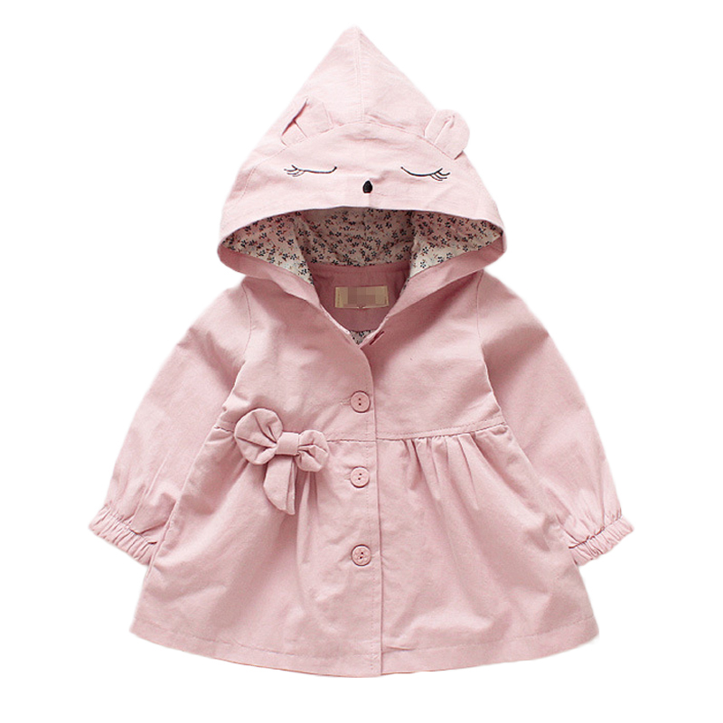 1-5Y Baby Girl Clothes Spring Autumn Fashion Kids Windbreaker Outwear 3 Color Cute Cartoon Hooded Baby Jacket Toddler Girls Coat
