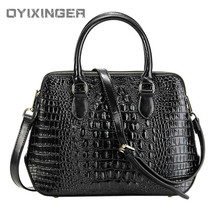 Women Genuine Leather Handbag Fashion Lady Crossbody Messenger Office Bag Alligator Shoulder Bags For Sac A Main Bolsas Feminina vintage genuine leather women handbag messenger bags for women 2018 natural leather handbag sac a main female hand bag women