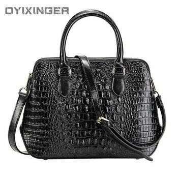 Women Genuine Leather Handbag Fashion Lady Crossbody Messenger Office Bag Alligator Shoulder Bags For Sac A Main Bolsas Feminina