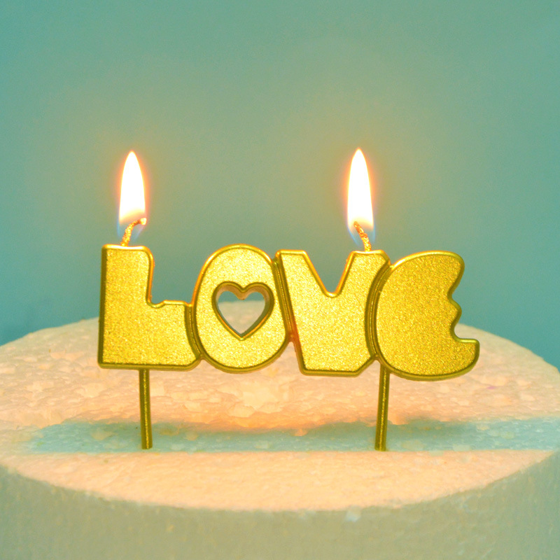 Smoke Free Plated Metal Color I Love You LOVE Lettered Birthday Candle Bakery Cake Decoration Plug-in Inserts Boxed