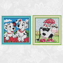 Joy sunday Two spots dog 14CT Printed Canvas 11CT White Fabric Cross Stitch kits Cows and chicken Needlework Embroidery Sets