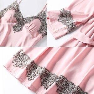 Image 3 - 4PCS סאטן הלבשת ליידי פיג מה חליפת נייטי & Robe סט סקסי אינטימי הלבשה תחתונה מזדמן כלה חתונה מתנה Homewear כתונת לילה