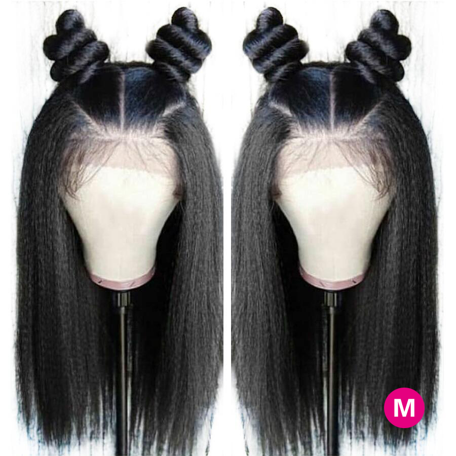 Pre Plucked 360 Lace Frontal Wig Kinky Straight Lace Wig Peruvian 250% Density Remy Lace Frontal Human Hair Wigs For Black Women