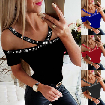 Shirt Women Summer 2021 Glitter Sequins Off Shoulder Shirts for Womens Short Sleeve Tops Female Slim Fit Sexy Tops Plus Size 1