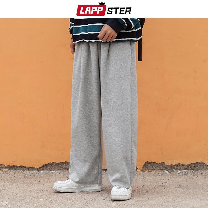 LAPPSTER Mens Korean Fashiosn Solid Harem Pants 2020 Autumn Man Grey Loose Casual Straight Sweatpants Harajuku Wide Leg Joggers