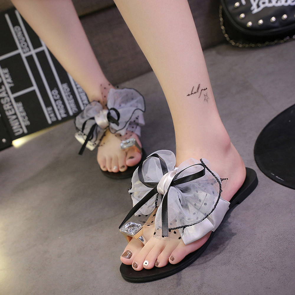 Butterfly-knot 3D Diamond Bow Beach Flip Sandals In Women's Slippers Female Flat Sandals Anti-Slip Flops