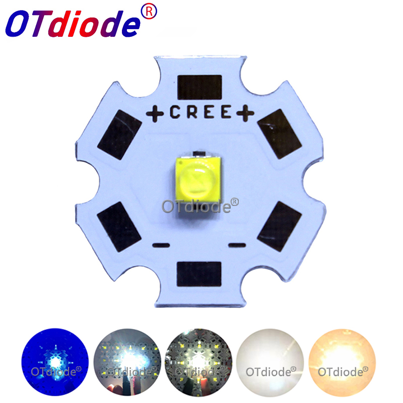1PCS <font><b>Cree</b></font> XTE <font><b>LED</b></font> XT-E 1-<font><b>5W</b></font> High Power <font><b>LED</b></font> Emitter Diode Neutral White Cold White Royal Blue with 20mm 16mm PCB image