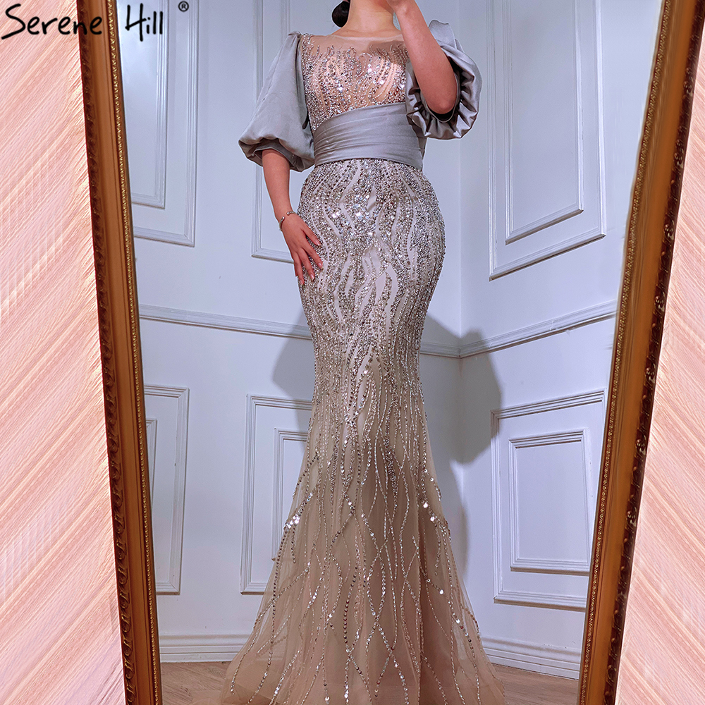 Serene Hill Silver Nude Luxury Mermaid  Beading Evening Dresses Gowns  Puffy Sleeves Elegant For Women Party  LA70809