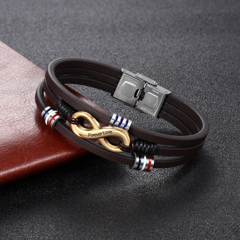 Personalized Mens Bracelets Vintage Handmade Engraved Name Infinity Leather Bracelets Wristband Bangle Fashion Male Jewelry